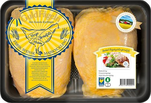 Dubbel majskycklingbröstfilé med skinn ca 950 g